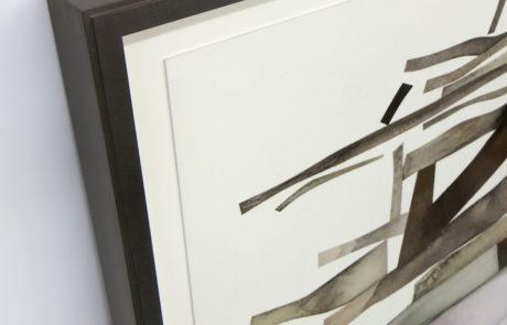 A detailed corner of a Irving Penn artwork framed by Bark Frameworks