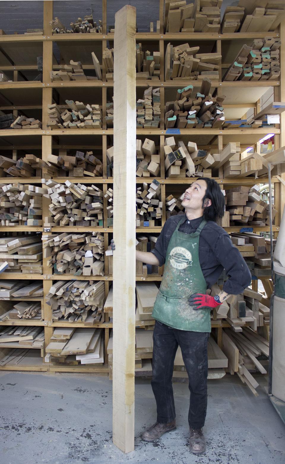 Peter Suzuki working in the woodshop