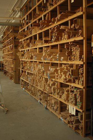 Lumber on Racks in the Wood Shop
