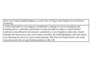 Fine Art Trade Guild Guidance on the Use of Tapes and Adhesives in Picture Framing