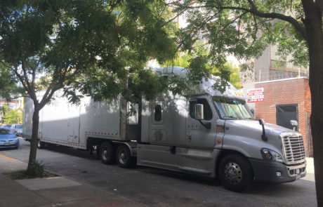 Tractor Trailer Picks Up Artwork to Transport to Exhibition