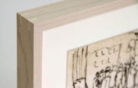 Artist Alex Katz Artwork People in a Park - Maple Frame Detail