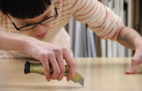 trimming adhesive bark paper