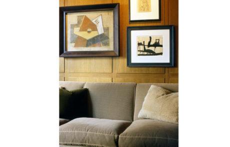 Bark Frames for Glenn Dissler Design Above Sofa