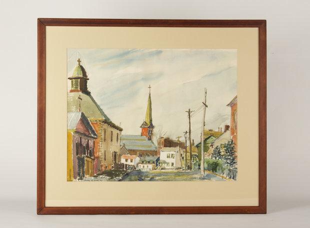 Damaged Watercolor in Original Mat and Frame