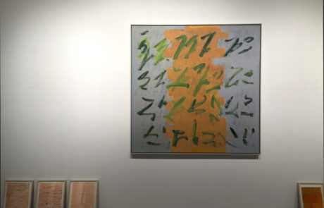 Elizabeth Enders at Real Art Ways One Painting and Four Drawings on Floor