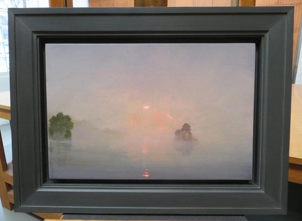 Stephen Hannock Painting Mauve Fog with Rose