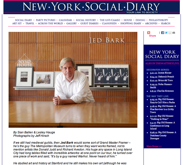 Jed Bark Featured in the New York Social Diary