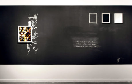 Marco Breuer Exhibition at Von Lintel Gallery Artwork with Drawings and Words on Wall