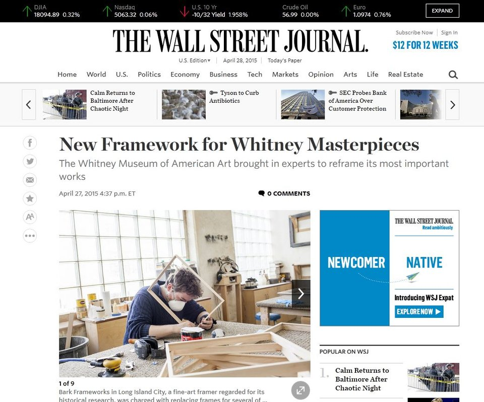 Wall Street Journal: New Framework for Whitney Masterpieces