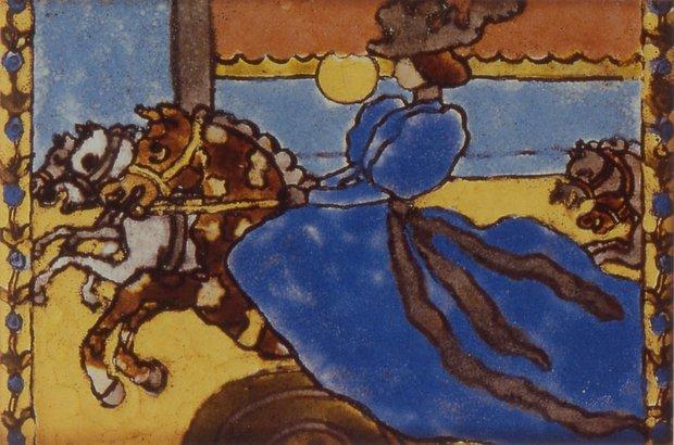 Rippl Ronai Tile of Woman and Horses