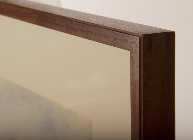 Corner Detail of Simple Profile Frame in Black Walnut