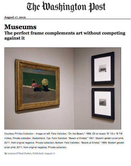 The Washington Post Article: The Perfect Frame Complements the Art Without Competing Against It