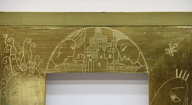 Top Center Detail of Punchwork on Mirror Frame
