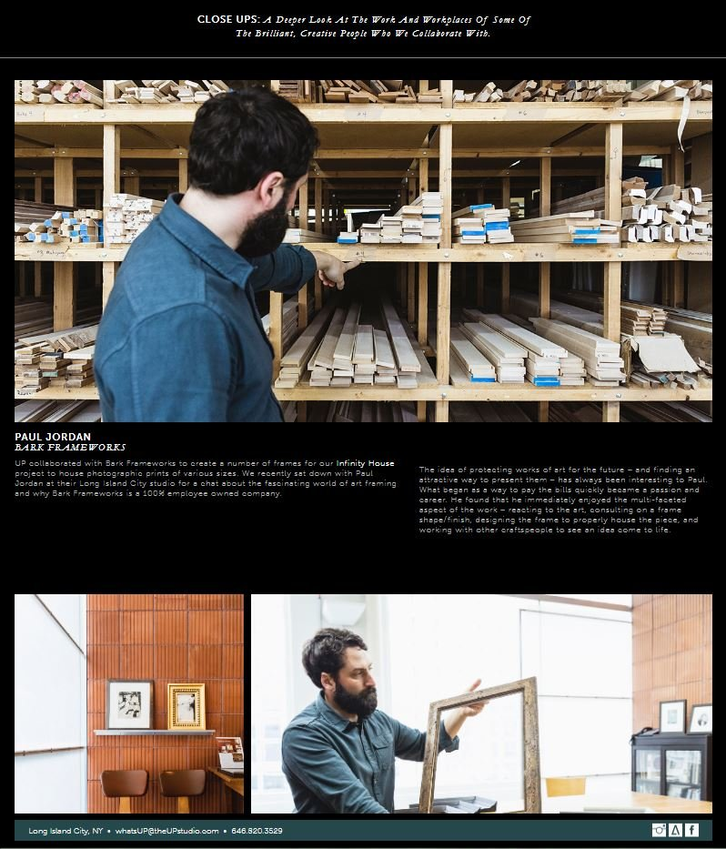 Photographs from article of Bark Frameworks design studio and wood shop