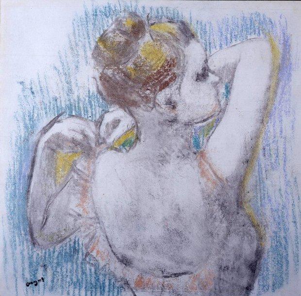 """Danseuse Buste, 1897"" by Edgar Degas, unframed pastel"