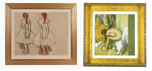 Two Framed Edgar Degas Artworks - One of a Dancer, the Other of a Bather
