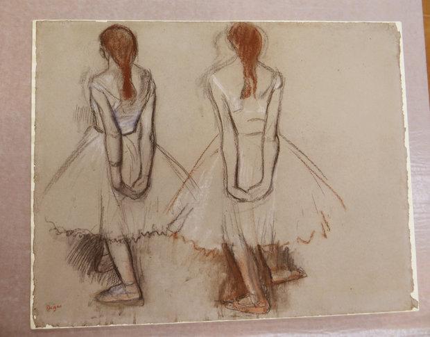 Edgar Degas Two Studies of a Dancer Unframed Drawing