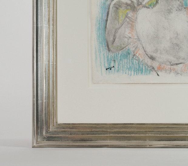 """""""Danseuse Buste, 1897,"""" framed by Bark Frameworks, 2014. Detail of Corner."""