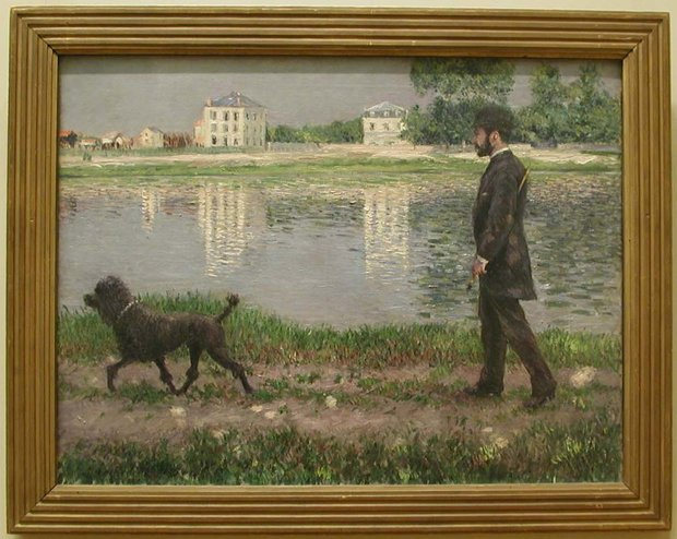 Gustave Caillebotte Framed Artwork of Richard Gallo and his Dog Dick at Petit Gennevilliers