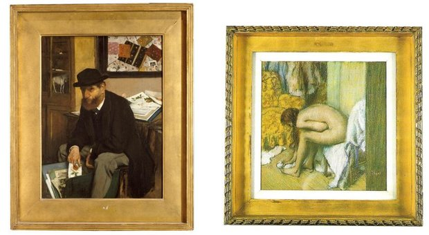 Two Framed Edgar Degas Artworks - One of a Man, the Other of a Bather
