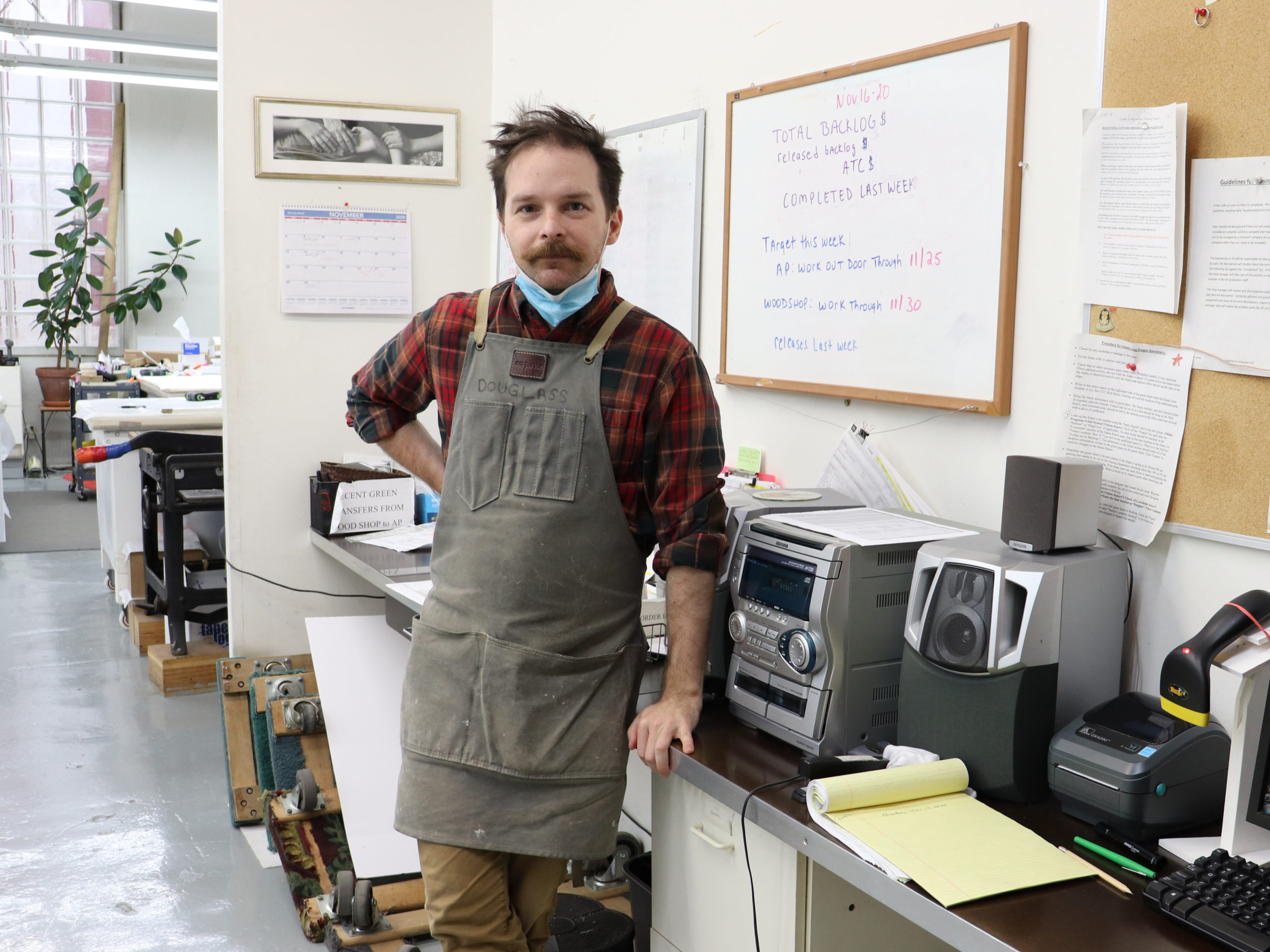 Ryan with his stereo in our art preservation studio.